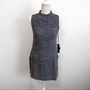 Blue mock neck tunic sweater